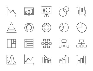 Set of Graph and Chart Line Icons. Pie Chart, Statistics, Presentation and more.