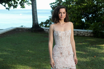 """Actor Ana de Armas poses for a picture during a photocall for the British spy franchise's 25th film set for release next year, titled """"Bond 25"""" in Oracabessa"""