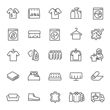 Dry cleaning service, icon set. cleaning process for clothing and textiles, process of cleaning clothes, linear icons. Line with editable stroke