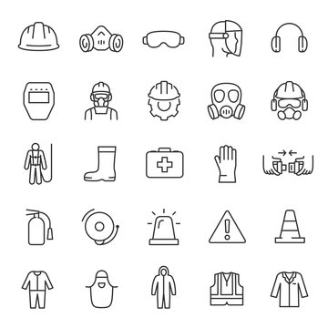 Protection and safety in the workplace, icon set. work area safety, linear icons. Notification and warning of danger. Line with editable stroke