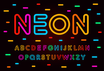 Fotomurales - Neon letters, numbers and symbols set. Colored tube, colorul contour modern style abc, lines latin alphabet. Fonts for events, promotions, logos, banner and monogram. Vector Typography design.