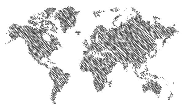 scribble map of the world