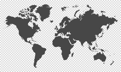 world map on transparent background Fotomurales