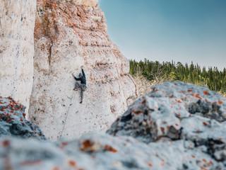 climbr on vertical cliff