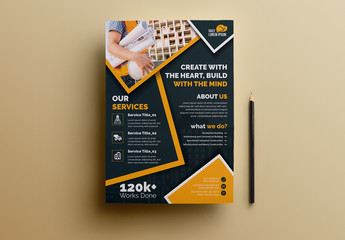 Construction Flyer Layout with Orange Accents and Graphic Icons