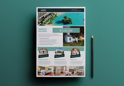 Real Estate Flyer Layout with Teal Accents