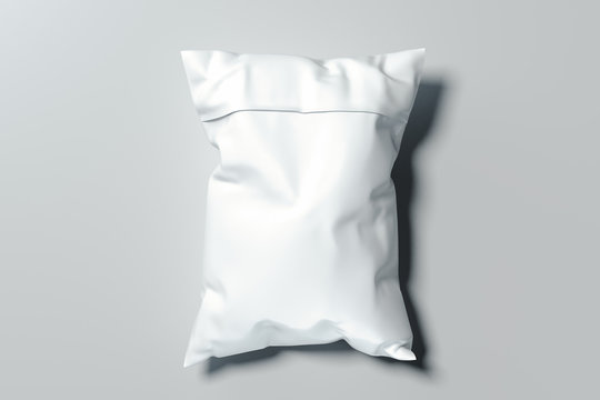 White realistic packet isolated on white background. 3d rendering.