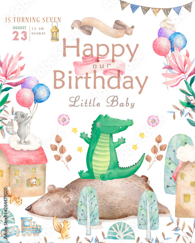 Happy Birthday Card With Cute Elephant Watercolor Animal Baby Greeting Boho Flowers