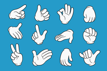 Cartoon hands set in different gestures. Hands in white gloves with black stroke. Element for your design. Vector illustration.