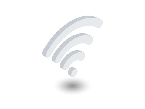 Isometric Wi-Fi signal icon. Wireless internet signal pictogram isolated on white background