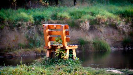 Holzbank. Ein Platz in der Natur