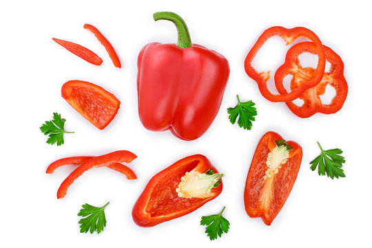 red sweet bell pepper isolated on white background. Top view. Flat lay