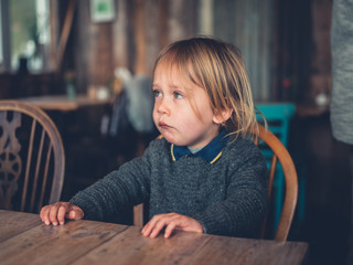 Little toddler sitting in a cafe
