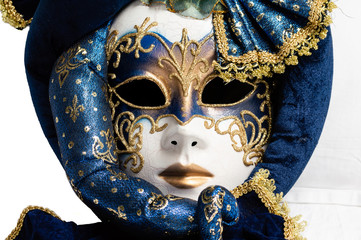 blue with gold elegant traditional venetian mask over white background