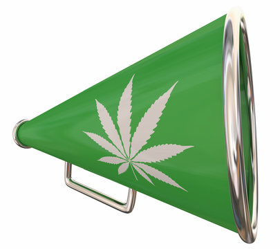 Marijuana Pot Weed Cannabis Bullhorn Megaphone Share Communicate 3d Illustration