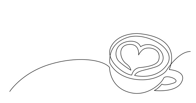 continuous line drawing of cappuccino coffee cup with heart on foam