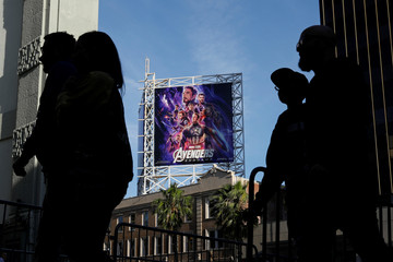 """Avengers fans arrive at the TCL Chinese Theatre in Hollywood to attend the opening screening of """"Avengers: Endgame"""" in Los Angeles"""