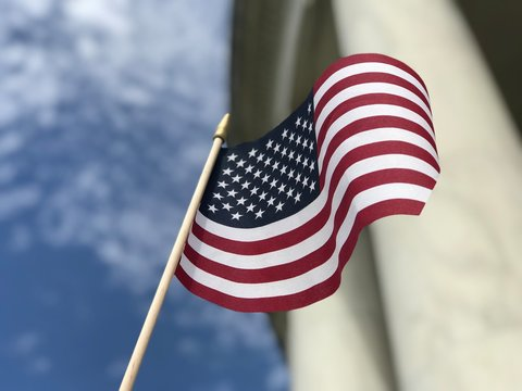 American Flag with Columns. Photo image