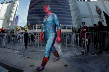 """Avengers fan Matthew Bruhn is dressed as Vision as he enters the TCL Chinese Theatre in Hollywood to attend the opening screening of """"Avengers: Endgame"""" in Los Angeles"""