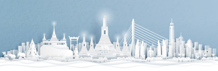 Fototapete - Panorama view of of Bangkok, Thailand with city skyline and world famous landmarks in paper cut style vector illustration