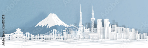 Fototapete Panorama view of Tokyo city skyline with world famous landmarks of Japan in paper cut style vector illustration.