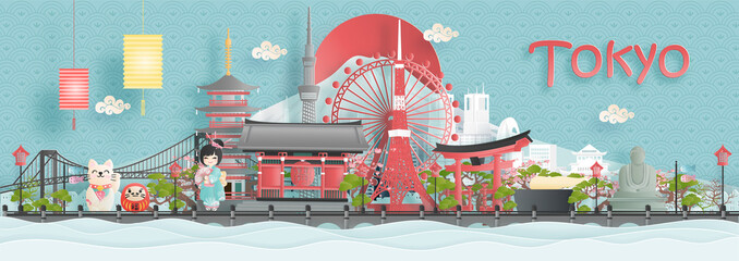 Wall Mural - Panorama view of Tokyo city skyline with world famous landmarks of Japan in paper cut style vector illustration.