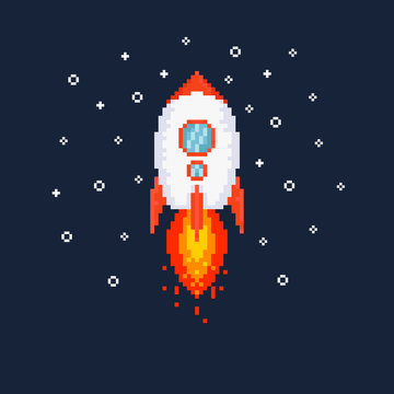 Pixel flying rocket illustration.8bit.