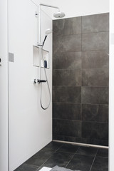 Modern shower cubicle with glass door