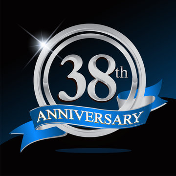 38th anniversary logo with blue ribbon and silver ring, vector template for birthday celebration.