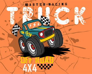 Monster truck cartoon on cracked hole background