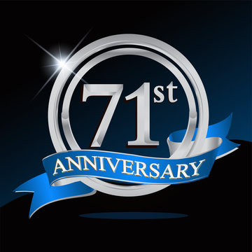 71st anniversary logo with blue ribbon and silver ring, vector template for birthday celebration.