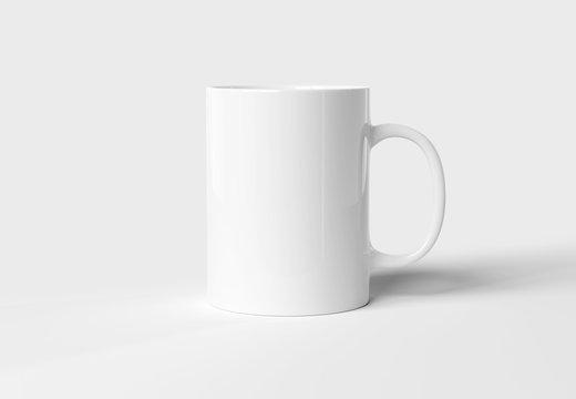 Blank mug mockup isolated on white 3D rendering