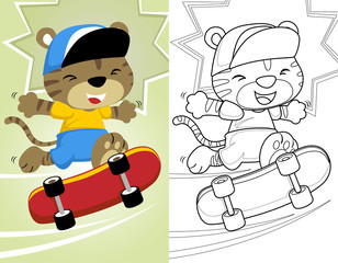 coloring book or page with little cat playing skateboard
