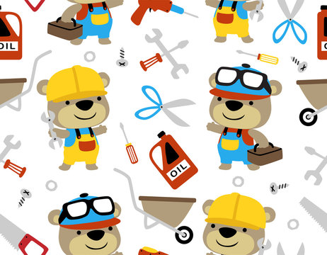 seamless pattern vector with liitle bear cartoon, builder and mechanic with its tools