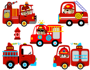 vector set of fire engine cartoon with funny driver