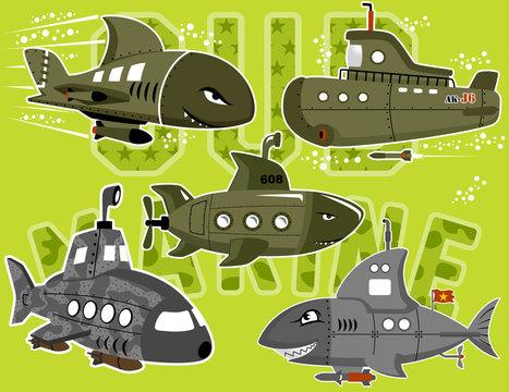 vector set of military submarine cartoon