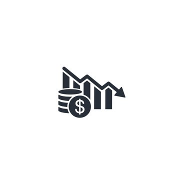 Fiscal, financial  abatement, decline. Vector icon.