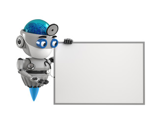 Doctor robot shows on the empty board with white background. 3D Render.