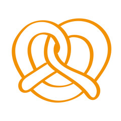 Handgezeichnete Brezel in orange