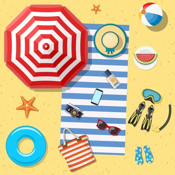 Beach Accessories top lay view on sand. Striped towel, umbrella, flip flops, flippers, float ring, snorkeling mask, bag, sunglasses, sun cream, hat, watermelon Vector illustration in flat style