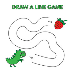 Cartoon Dinosaur Draw a Line Game for Kids