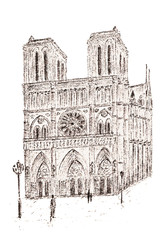 Drawing of the Paris Cathedral of Notre Dame de Paris. City sketch.