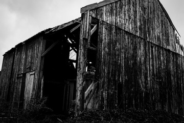 Old abandoned factory, broken barn, urbex