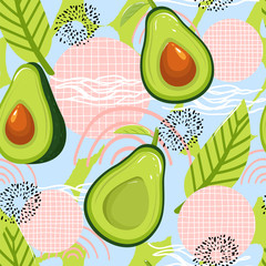 Modern seamless pattern with avocado fruits and abstract elements. Creative floral collage. Vector texture for textile, wrapping paper, packaging etc. Vector illustration.