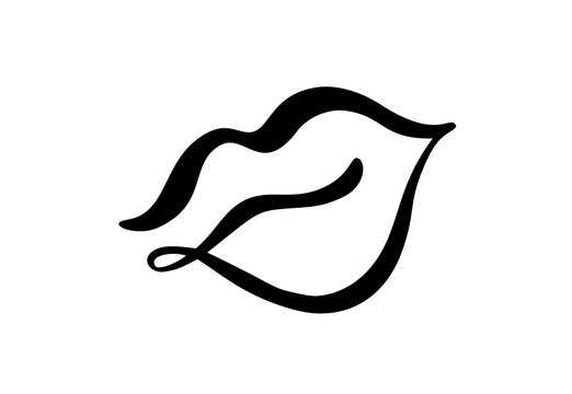 Vector abstract hand drawn lips symbol beauty. Picture logo label for print on clothes. Isolated illustration calligraphy element for minimal design