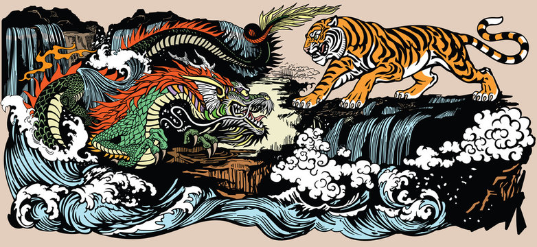 Green Chinese East Asian dragon versus tiger in the landscape with waterfall and water waves  . Two spiritual creatures in the Buddhism representing the spirit heaven and matter earth. Graphic style v