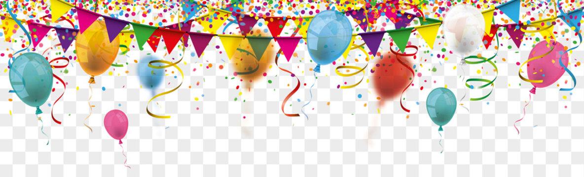 Carnival Confetti Balloons Ribbons Festoon Long Transparent Header