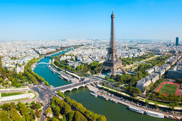 Photo sur Toile Tour Eiffel Eiffel Tower aerial view, Paris