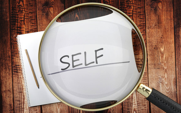 Study, learn and explore self - pictured as a magnifying glass enlarging word self, symbolizes analyzing, inspecting and researching the meaning of self, 3d illustration