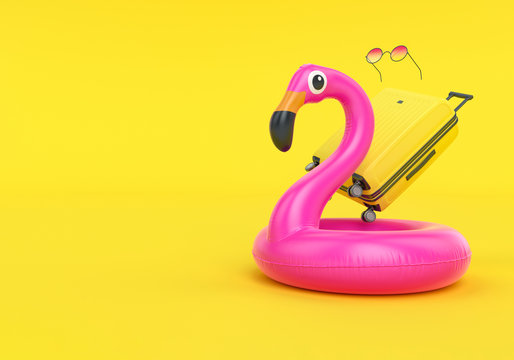 Summer vacation travel concept, pink inflatable flamingo and suitcase isolated on yellow background, 3d rendering